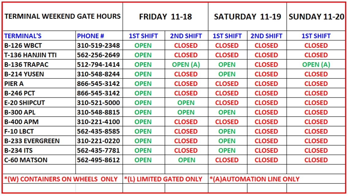 terminal schedule 2016-11-18