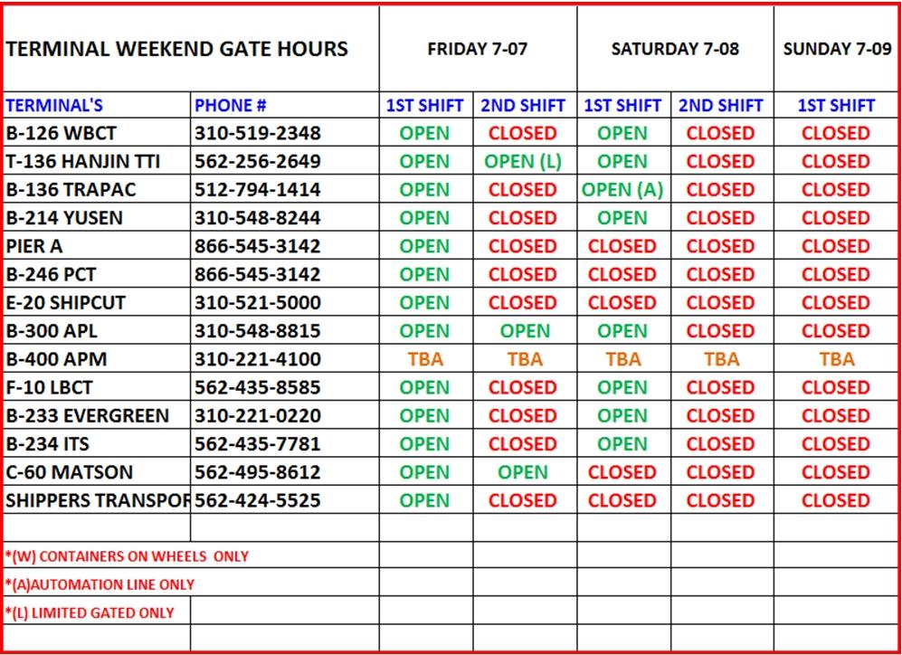 Termainl Gate Hours - Weekend of July 7 - 9, 2017
